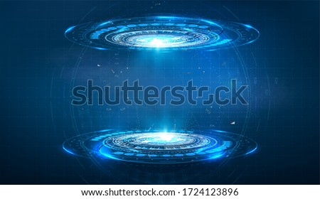 Futuristic circle vector HUD, GUI, UI interface screen design. Abstract style on blue background. Blank display, stage or podium for show product in futuristic cyberpunk style.Technology demonstration