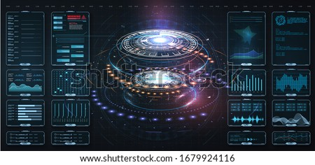 Futuristic circle vector HUD, GUI, UI interface screen design.Vector science abstract. Futuristic user interface with digital infographics and data charts vector electronic scifi hologram concept.  Сток-фото ©