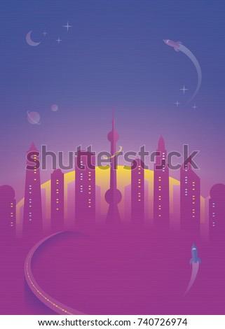 futuristic city skyline at