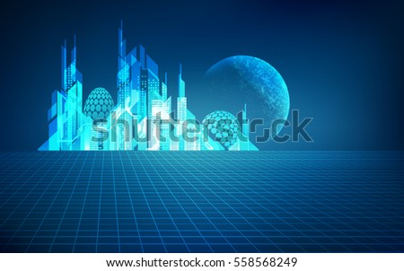 futuristic city with a planet