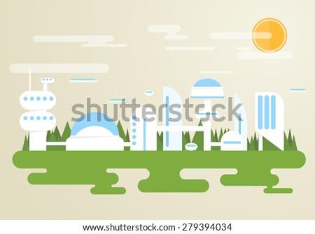 futuristic city with white