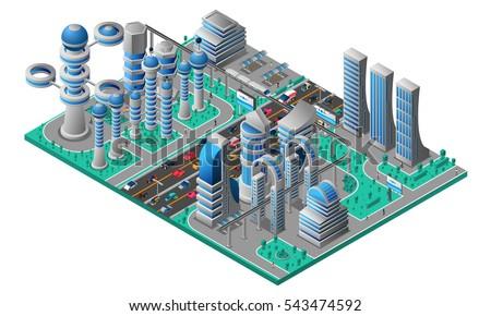 futuristic cityscape isometric