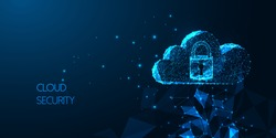 Futuristic Cloud security concept with glowing low polygonal cloud technology symbol and padlock with access isolated on dark blue background. Modern wireframe mesh design vector illustration.