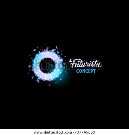 Futuristic concept logo, light bulb abstract vector icon. Isolated pink and blue color polygons shape, stylized lamp  with text. Digital innovation technology vector illustration.