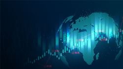 futuristic concept of global economics with copy space suitable for world financial technology Economic trends , business or digital network idea. Abstract digital background. Vector