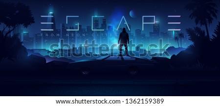 Futuristic cyberpunk illustration. Neon city background. Сar on the background of the shining metropolis