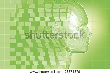 Futuristic 3D head forming from polygon pieces background