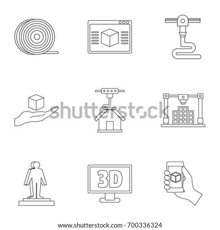 Futuristic 3d printer icon set. Outline set of 9 futuristic 3d printer vector icons for web isolated on white background