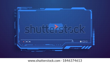 Futuristic Desktop Video player, modern digital Video player for the web templates. New Media Player interface. Skin video player. Template for Web and Mobile Apps. Vector