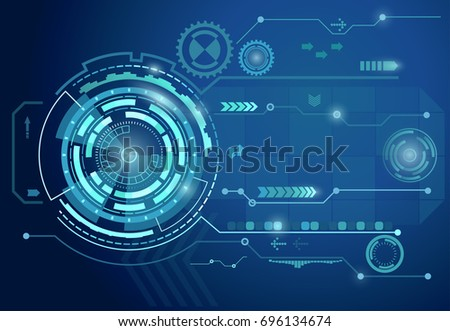 Futuristic digital business background, tech circle technology, virtual graphic touch user interface,web applications, display hologram circles. Vector