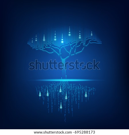 futuristic digital tree with