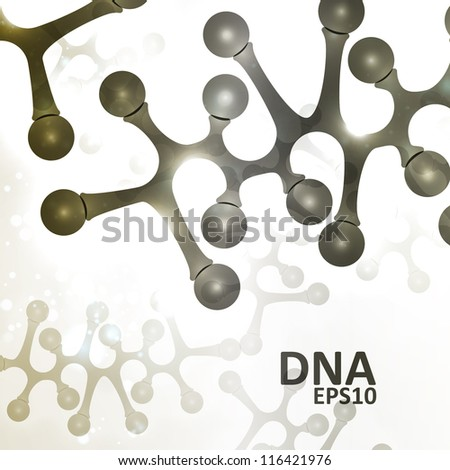 Futuristic dna, abstract molecule, cell illustration eps10 - stock vector