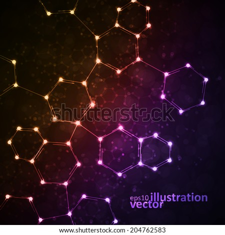 Futuristic dna abstract molecule cell illustration eps10