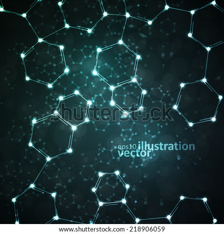 Futuristic dna, abstract molecule, cell illustration eps10
