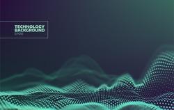 Futuristic dots pattern. Technology vector background. Data visualization. Sound wave