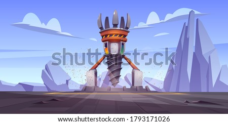 Futuristic drilling rig, drill ship for exploration and mining. Vector cartoon landscape with platform and derrick with auger. Future spaceship for bore and mining ground