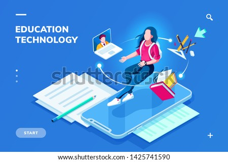 Futuristic education technology page for smartphone application. Isometric banner for online education. Student woman on top of phone and teacher at notebook. Digital college or school. E-learning