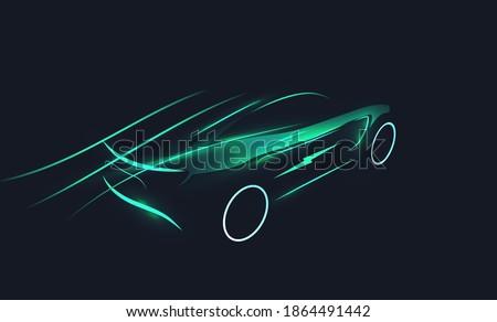 Futuristic electric car silhouette in motion on dark background. EV concept. Green eco transportation concept. Vector illustration