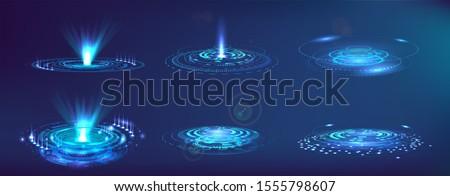 Futuristic elements FUI, GUI, HUD. Set abstract circle hi-tech. Projector, hologram UI elements virtual reality. Sci-fi interface. Vector set Futuristic User Interface. Sky-fi collection.
