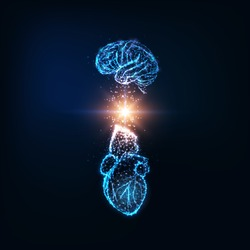 Futuristic emotional intelligence concept with glowing low polygonal human brain and heart and light energy between them isolated on dark blue background. Modern wire frame design vector illustration.