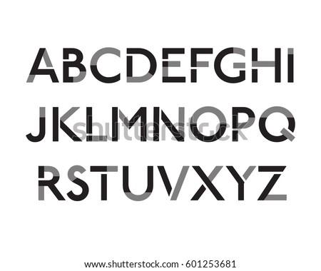Futuristic font. Cosmic Font. Vector alphabet set. Elegant light font. Minimal. Latin alphabet letters - stock vector
