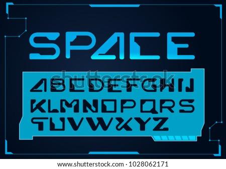 Futuristic font. Cosmic Font. Vector alphabet set.Fresh futuristic Techno font trance style lettering