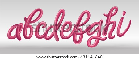 Futuristic font set with letters a, b, c, d, e, f, g, h, i. Glossy pink paint letters with reflection. 3D render of bubble font with glint. Typography vector illustration.