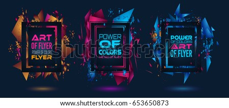 Futuristic Frame Art Design with Abstract shapes and drops of colors behind the space for text. Modern Artistic flyer or party thai background. #653650873