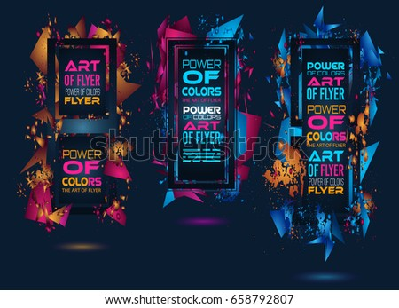 Futuristic Frame Art Design with Abstract shapes and drops of colors behind the space for text. Modern Artistic flyer or party thai background. #658792807