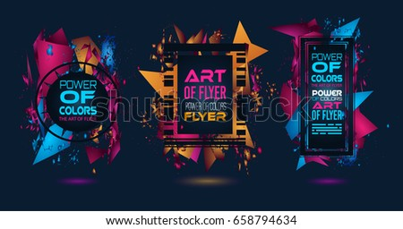 Futuristic Frame Art Design with Abstract shapes and drops of colors behind the space for text. Modern Artistic flyer or party thai background. #658794634