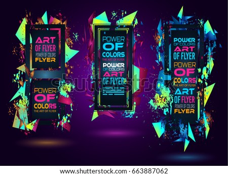 Futuristic Frame Art Design with Abstract shapes and drops of colors behind the space for text. Modern Artistic flyer or party thai background. #663887062