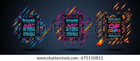 Futuristic Frame Art Design with Abstract shapes and drops of colors behind the space for text. Modern Artistic flyer or party thai background. #675150811