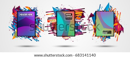Futuristic Frame Art Design with Abstract shapes and drops of colors behind the space for text. Modern Artistic flyer or party thai background. #683141140