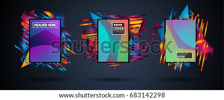 Futuristic Frame Art Design with Abstract shapes and drops of colors behind the space for text. Modern Artistic flyer or party thai background. #683142298