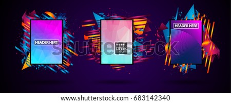 Futuristic Frame Art Design with Abstract shapes and drops of colors behind the space for text. Modern Artistic flyer or party thai background. #683142340