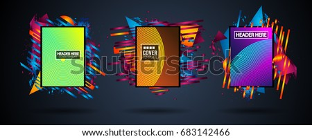Futuristic Frame Art Design with Abstract shapes and drops of colors behind the space for text. Modern Artistic flyer or party thai background. #683142466