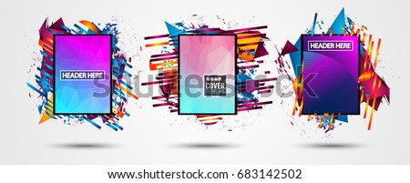 Futuristic Frame Art Design with Abstract shapes and drops of colors behind the space for text. Modern Artistic flyer or party thai background. #683142502