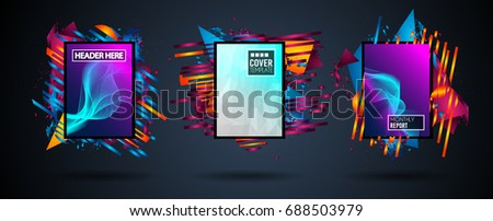 Futuristic Frame Art Design with Abstract shapes and drops of colors behind the space for text. Modern Artistic flyer or party thai background. #688503979