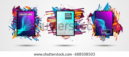 Futuristic Frame Art Design with Abstract shapes and drops of colors behind the space for text. Modern Artistic flyer or party thai background. #688508503
