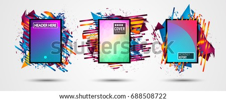 Futuristic Frame Art Design with Abstract shapes and drops of colors behind the space for text. Modern Artistic flyer or party thai background. #688508722