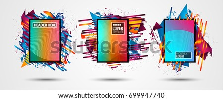 Futuristic Frame Art Design with Abstract shapes and drops of colors behind the space for text. Modern Artistic flyer or party thai background. #699947740