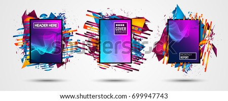 Futuristic Frame Art Design with Abstract shapes and drops of colors behind the space for text. Modern Artistic flyer or party thai background. #699947743