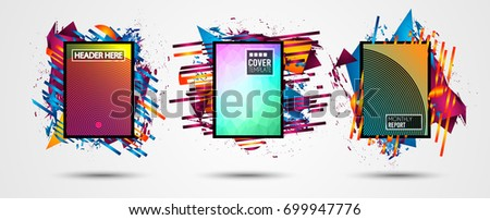 Futuristic Frame Art Design with Abstract shapes and drops of colors behind the space for text. Modern Artistic flyer or party thai background. #699947776