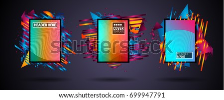 Futuristic Frame Art Design with Abstract shapes and drops of colors behind the space for text. Modern Artistic flyer or party thai background. #699947791