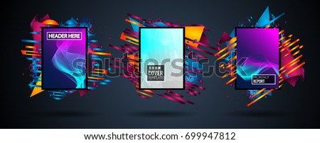 Futuristic Frame Art Design with Abstract shapes and drops of colors behind the space for text. Modern Artistic flyer or party thai background. #699947812