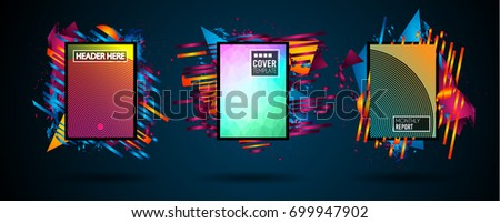 Futuristic Frame Art Design with Abstract shapes and drops of colors behind the space for text. Modern Artistic flyer or party thai background. #699947902