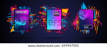 Futuristic Frame Art Design with Abstract shapes and drops of colors behind the space for text. Modern Artistic flyer or party thai background. #699947905