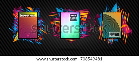 Futuristic Frame Art Design with Abstract shapes and drops of colors behind the space for text. Modern Artistic flyer or party thai background. #708549481