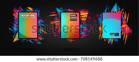Futuristic Frame Art Design with Abstract shapes and drops of colors behind the space for text. Modern Artistic flyer or party thai background. #708549688