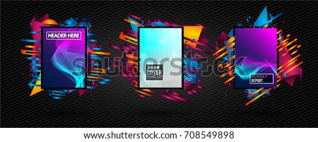 Futuristic Frame Art Design with Abstract shapes and drops of colors behind the space for text. Modern Artistic flyer or party thai background. #708549898